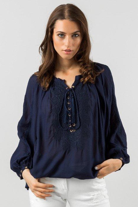 Granatowa plażowa bluzka damska z haftowanym wzorem