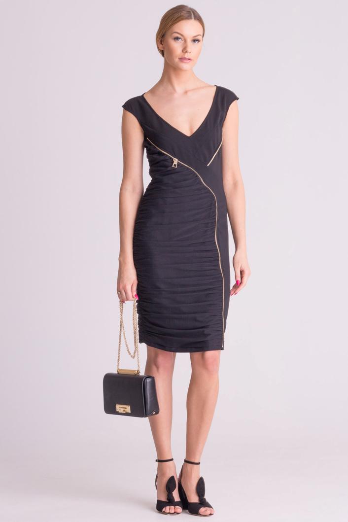 2ce270026d ... Czarna sukienka Versace Collection z ozdobnym zamkiem ...