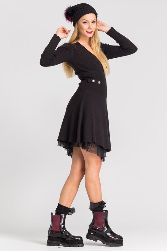 da8aec0e4a ... Czarna dzianinowa sukienka z długim rękawem ...