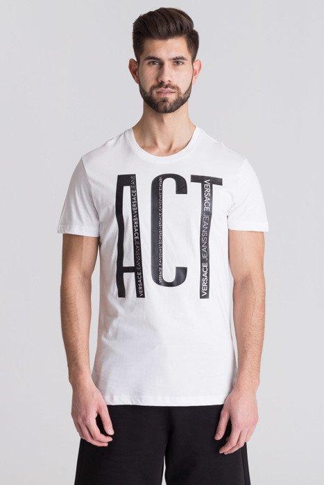 Biały t-shirt męski z czarną aplikacją 54eabdf0a13