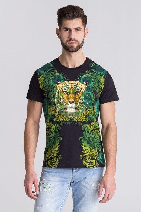 Czarny t-shirt męski z motywem tropikalnym 3da6385286e