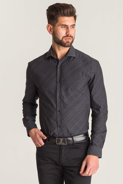939472b8c9 Dodaj do porównania · Szara koszula Versace Collection we wzór