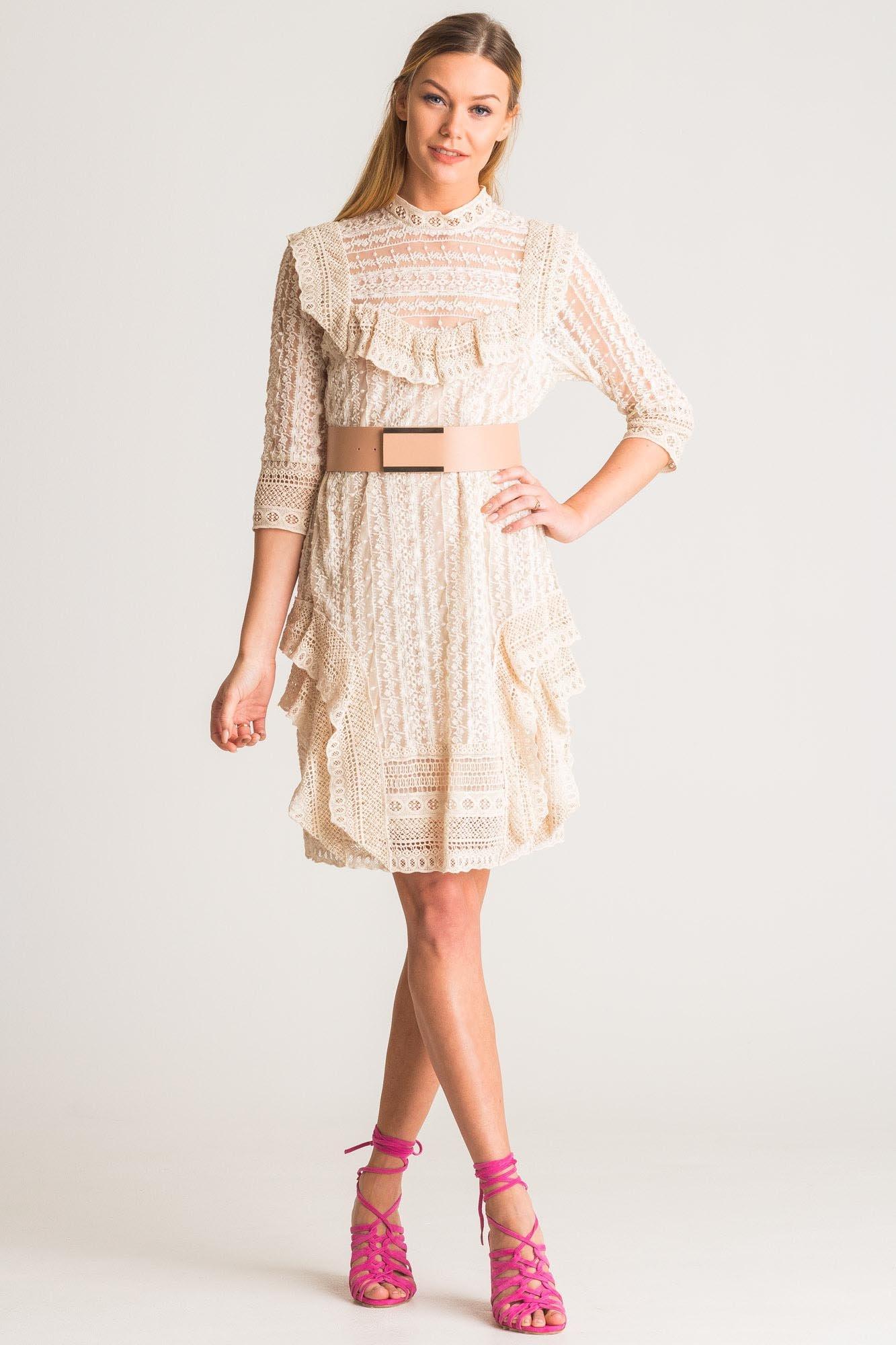 Znane Beżowa sukienka Twinset z koronki | Markowa odzież w sklepie Velpa.pl @KP-51