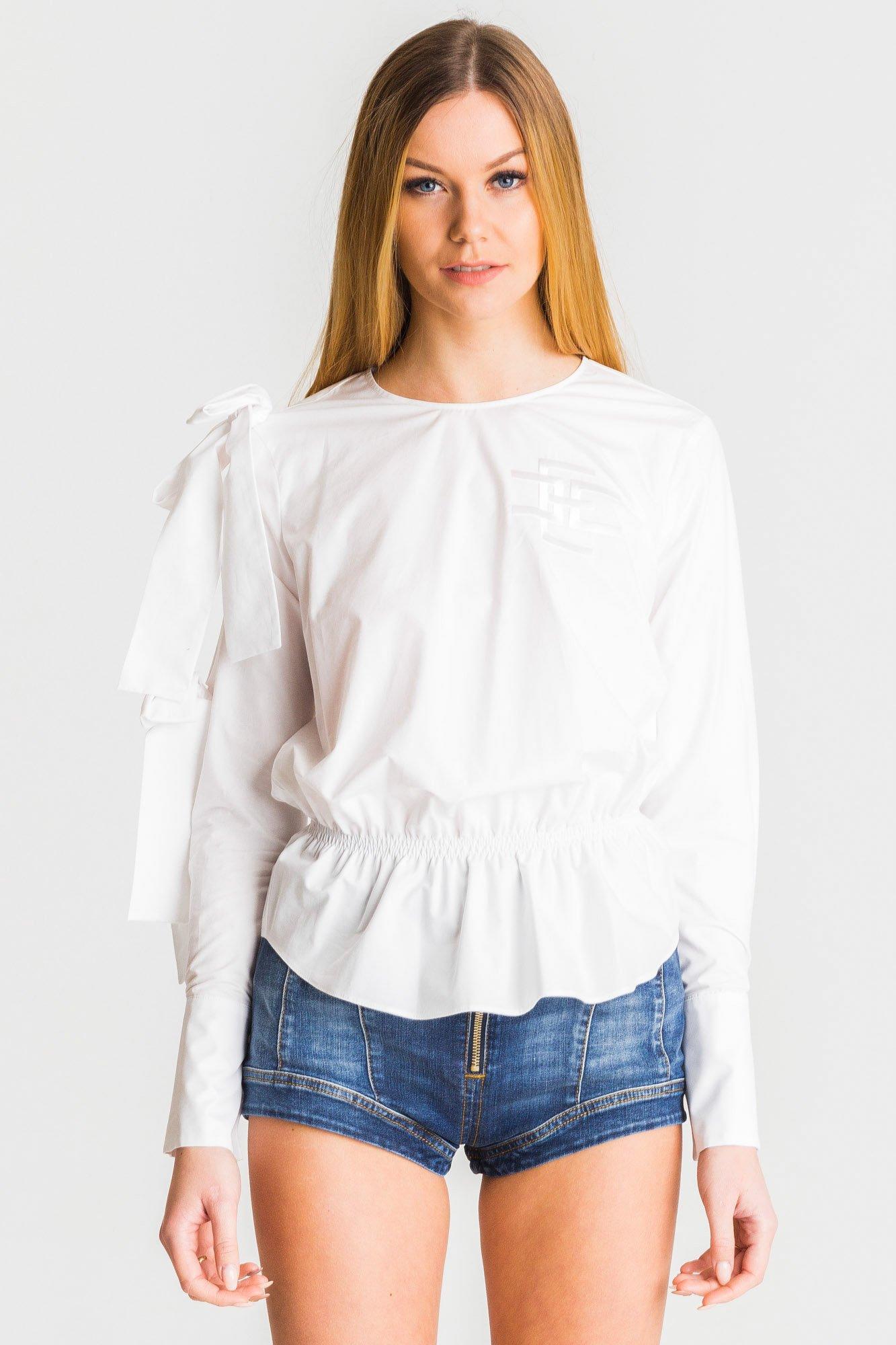 abc40aad92 ... Biała bluzka Elisabetta Franchi z falbaną ...