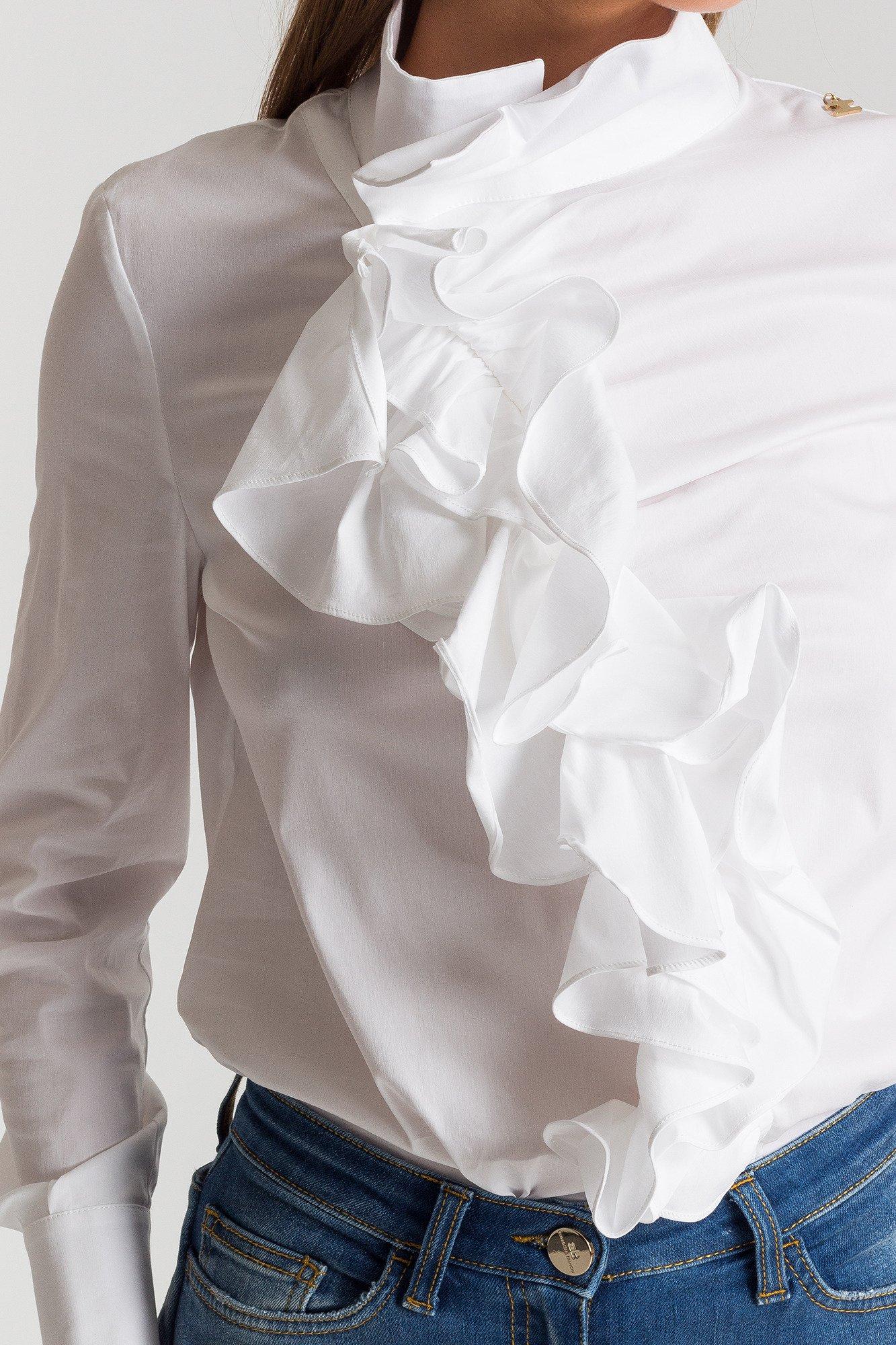 Biała koszula damska z żabotem | Marki Premium w sklepie