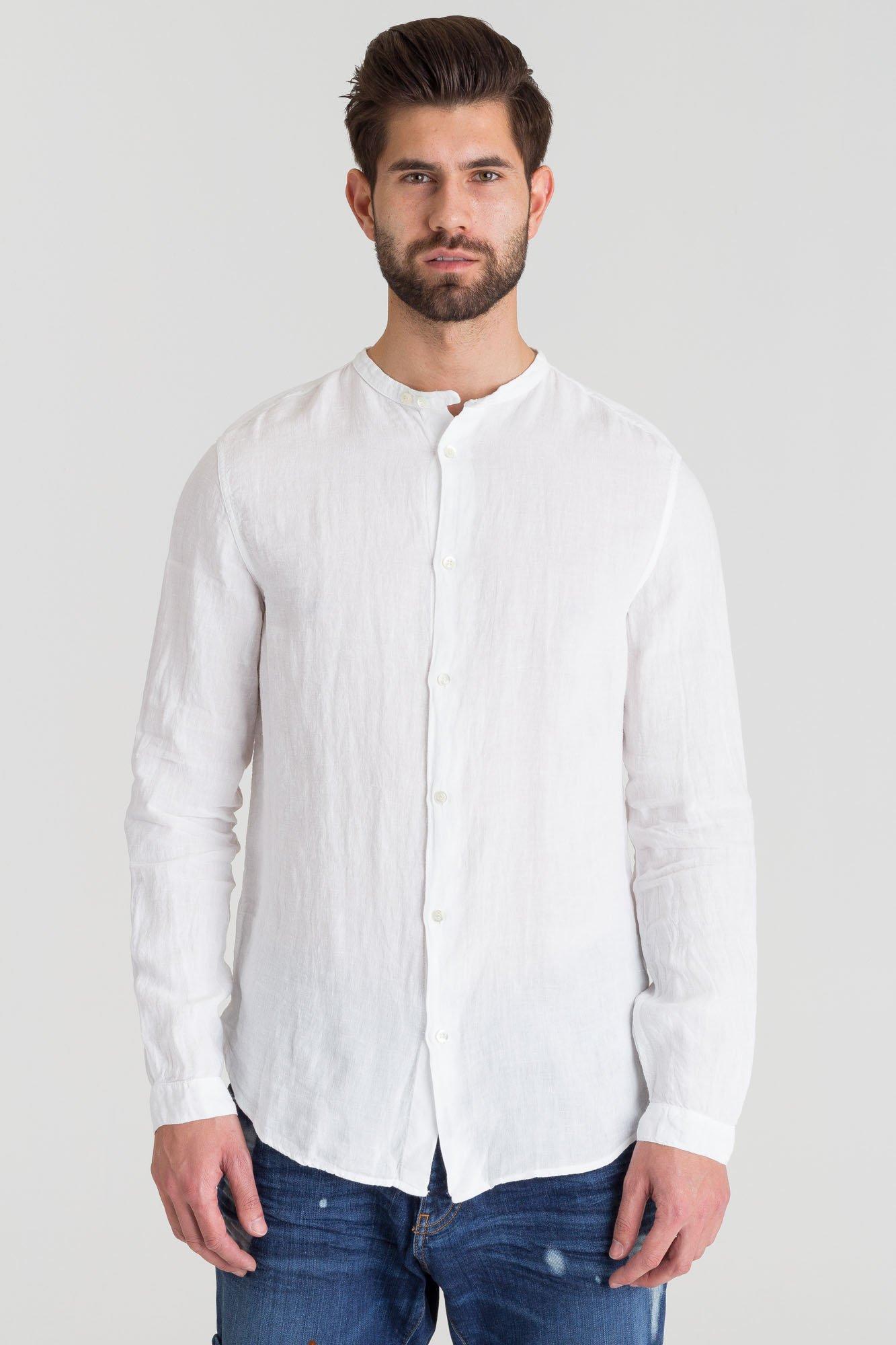81cc8efd43 ... Biała lniana koszula Emporio Armani ze stójką ...