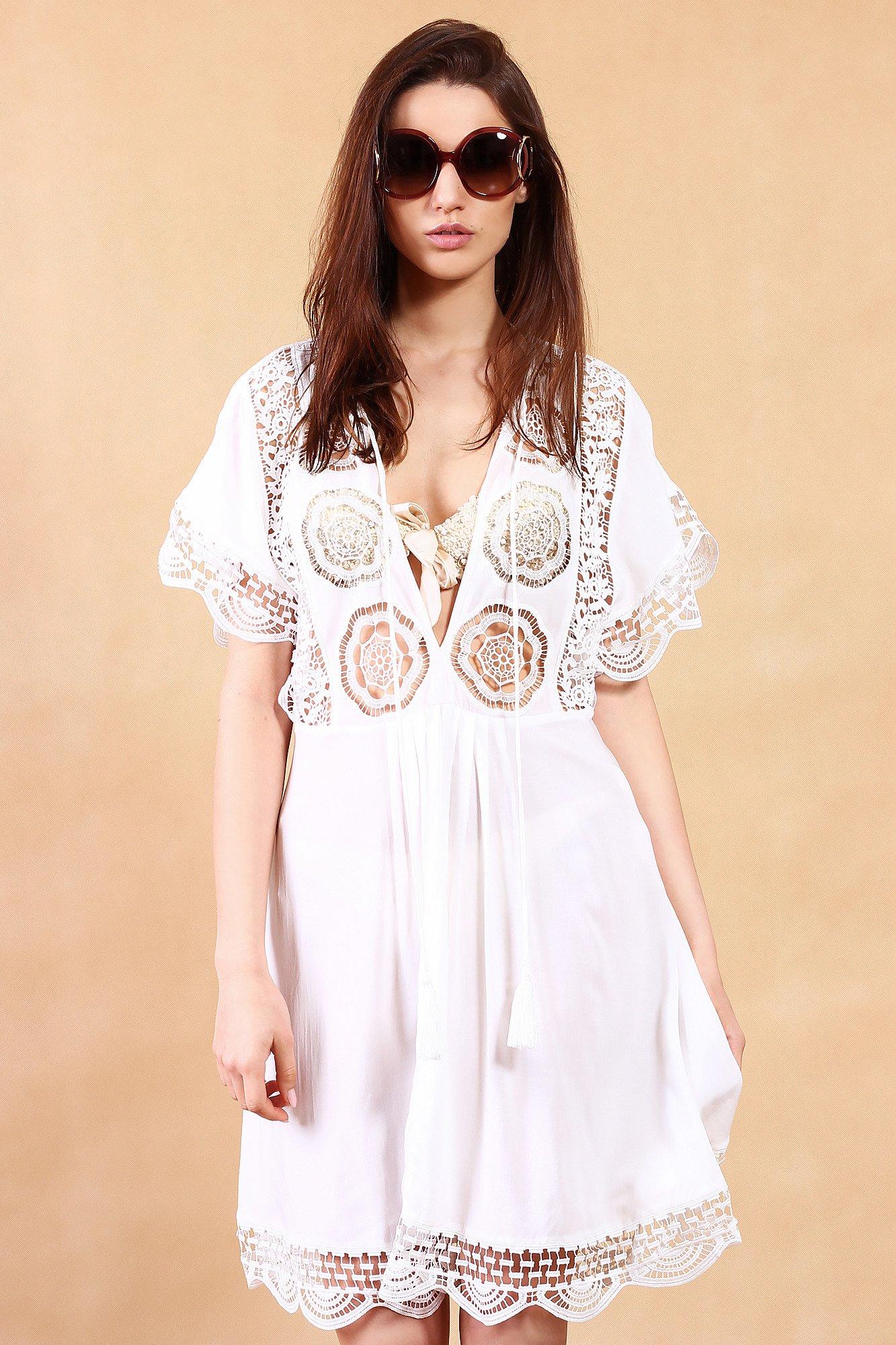 Biała Sukienka Plażowa Z Koronką Midi Markowa Odzież W