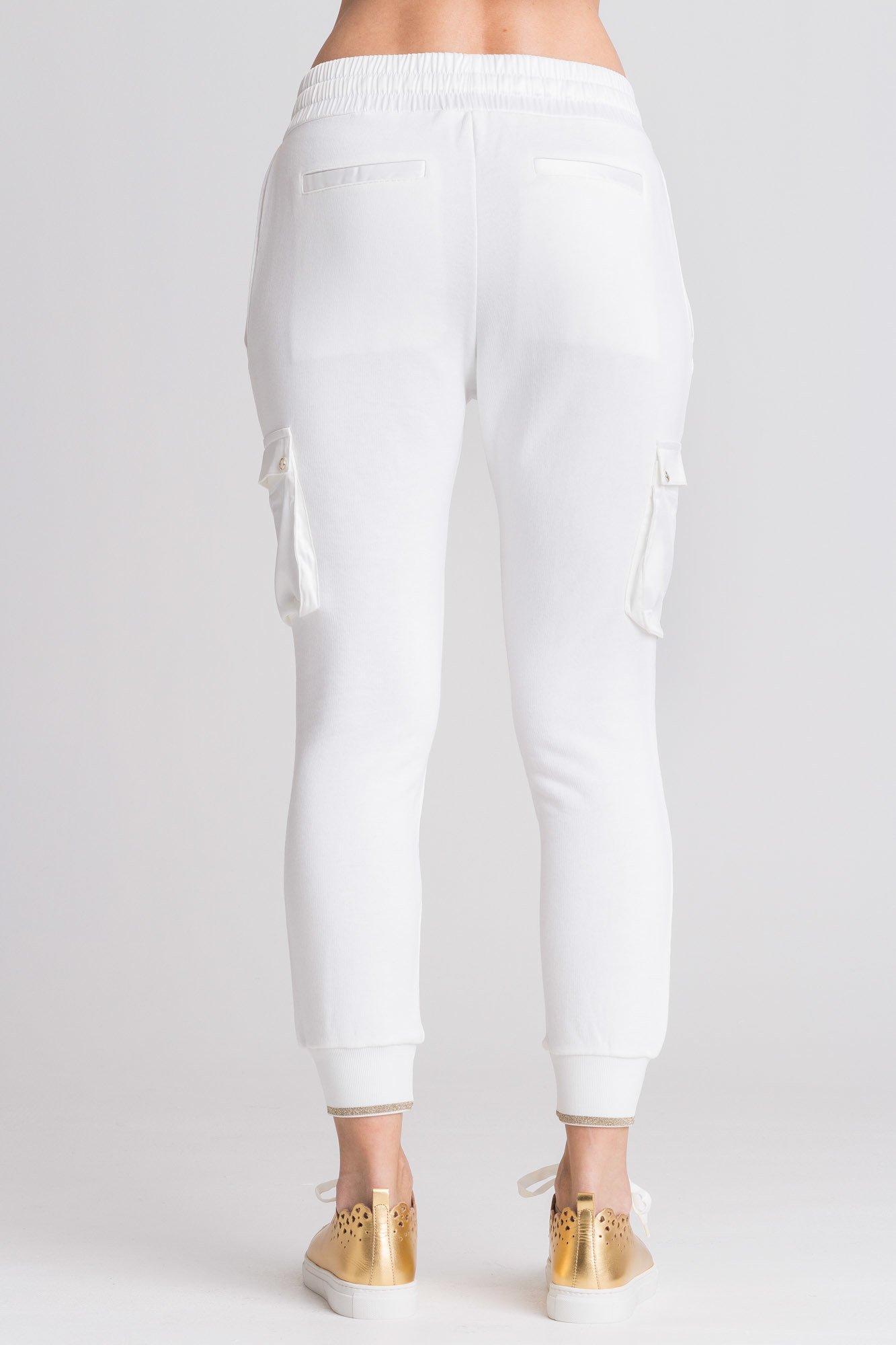 Białe spodnie dresowe z kieszeniami