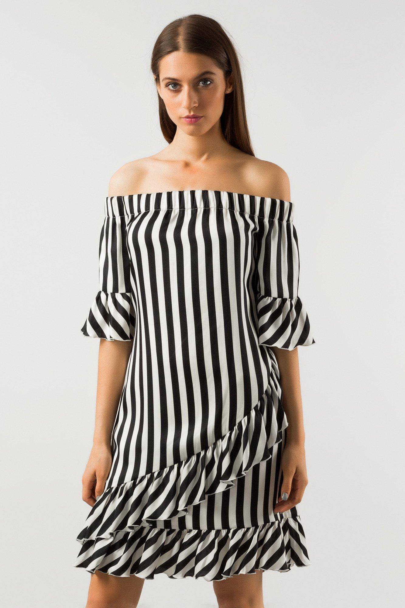 af0ba30b8a ... Biało-czarna sukienka w paski z falbanami ...
