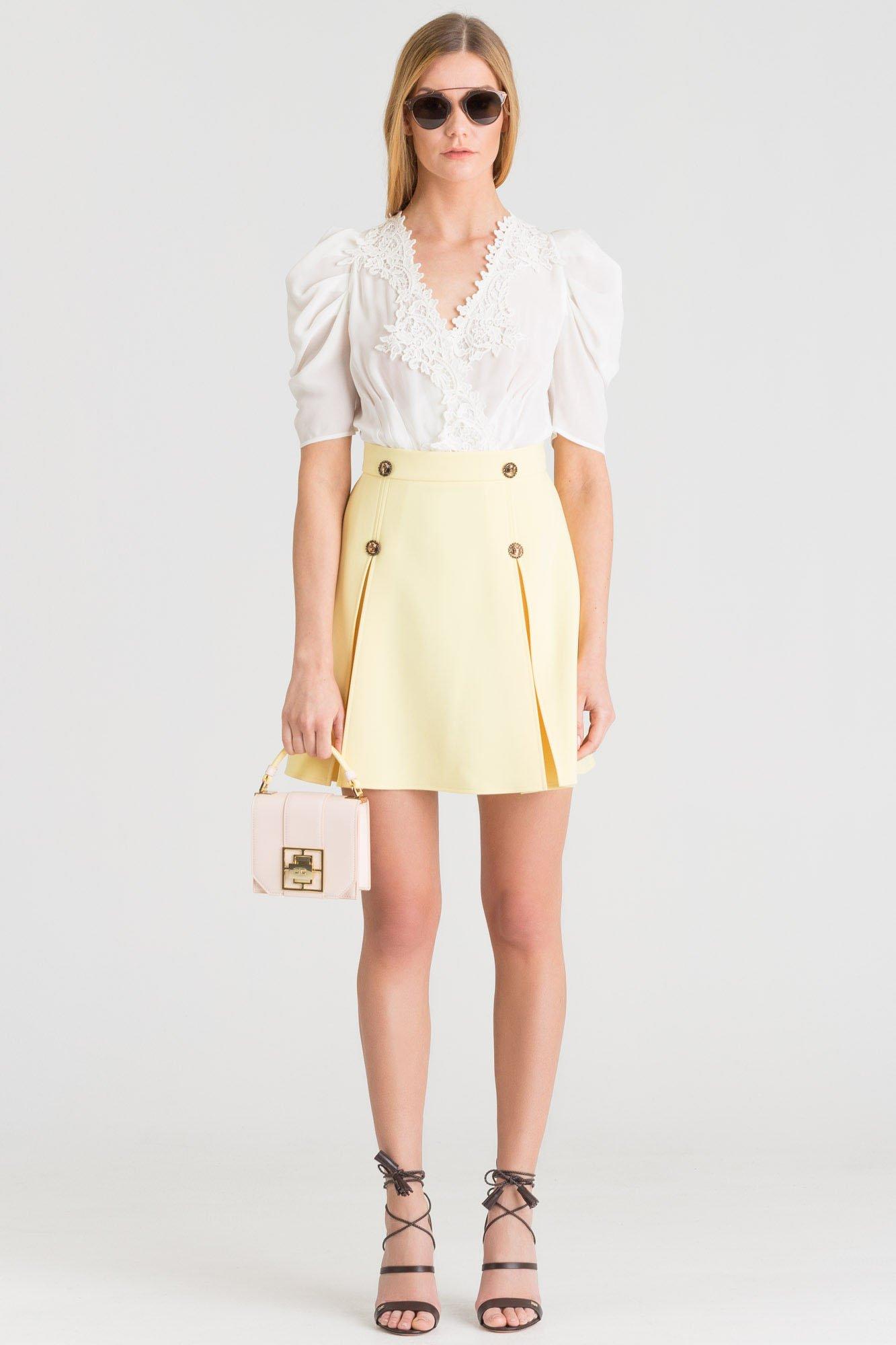 19737d7149 ... Biało-żółta dwuczęściowa sukienka Elisabetta Franchi ...