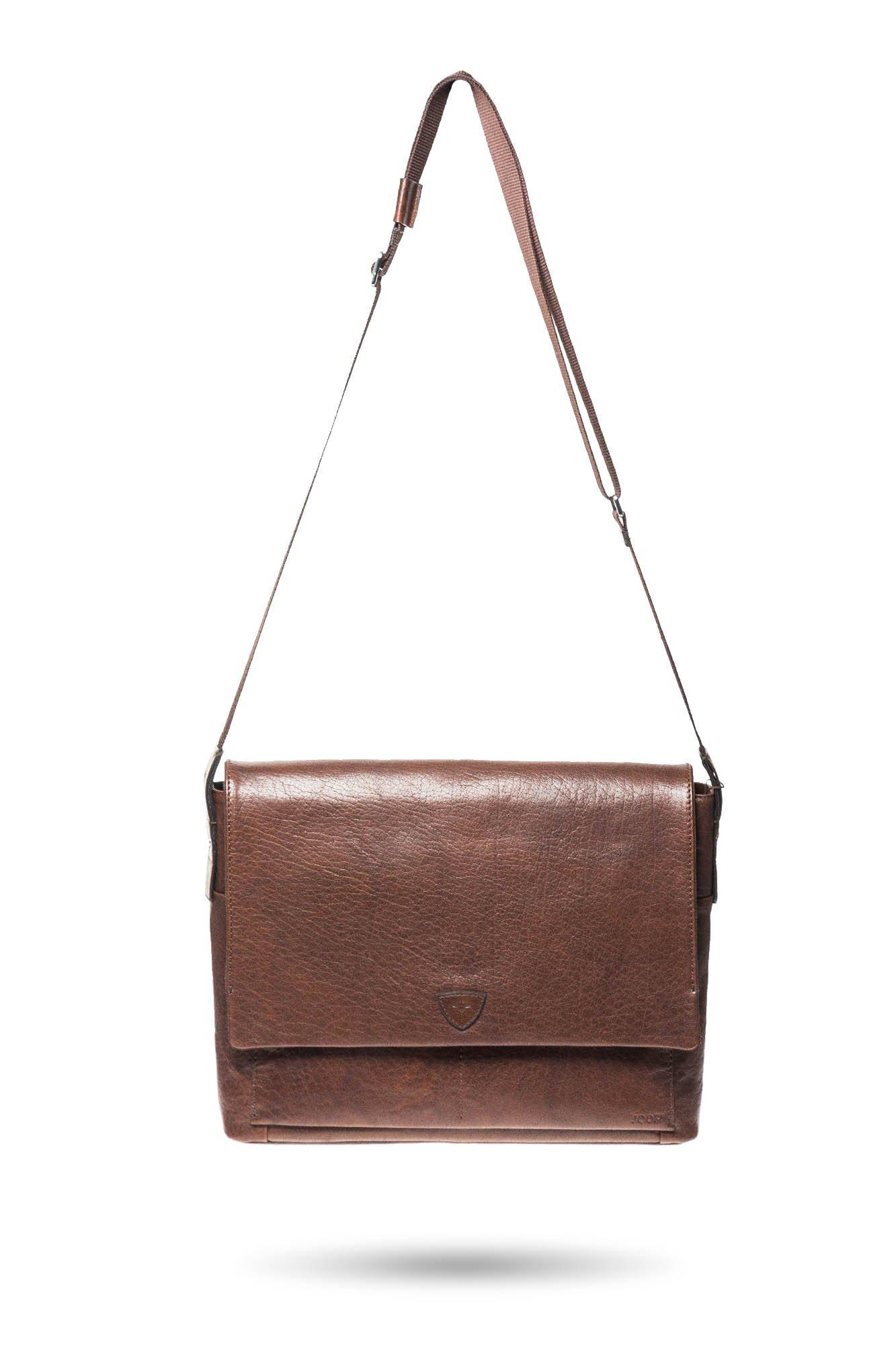 af0110af751f8 ... Brązowa skórzana torba na laptopa Joop Brenta Kimon ...