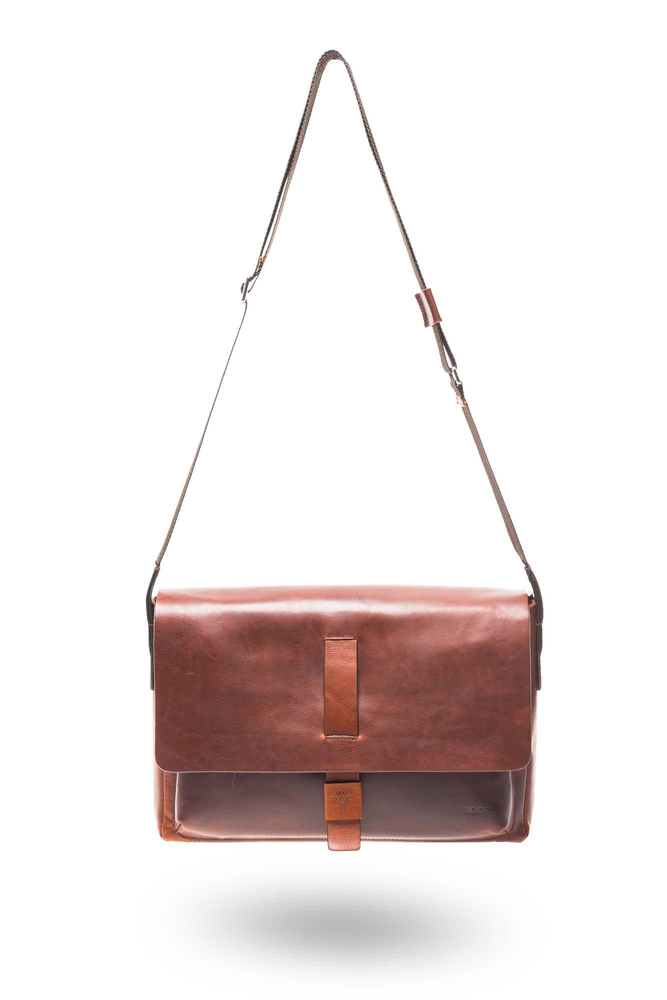 Brązowa skórzana torba na laptopa Joop Loreto Janis
