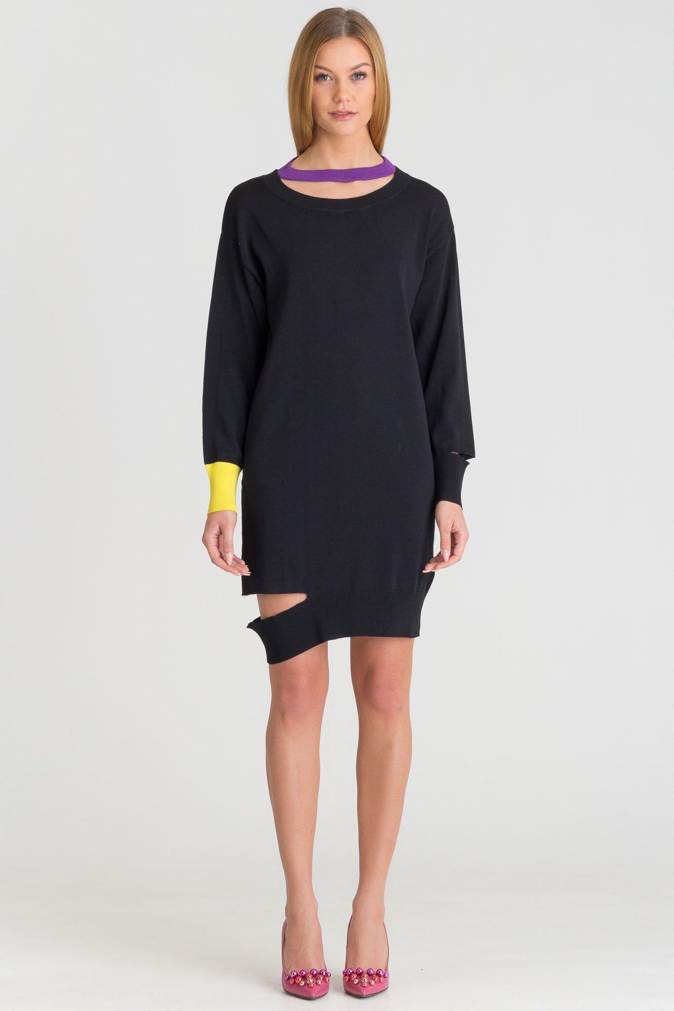 33dd6c13d5 ... Czarna dzianinowa sukienka Diesel z ozdobnymi nacięciami ...