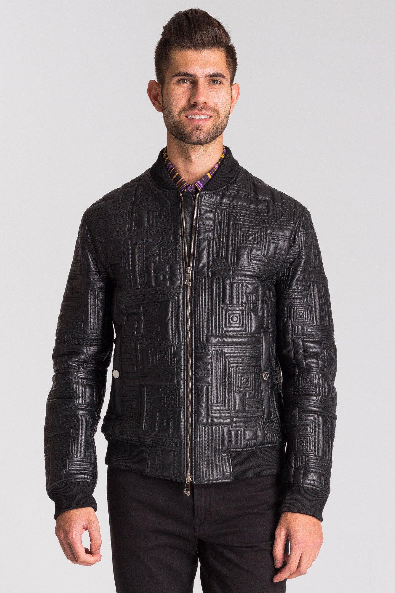 Czarna skórzana kurtka męska we wzór
