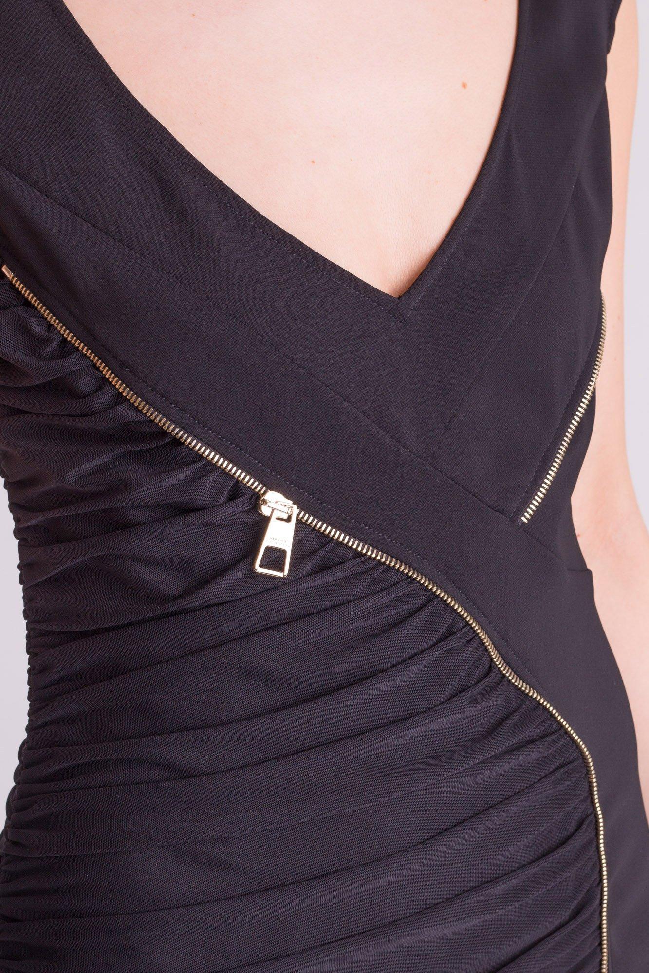 ec06e1bc34 Czarna sukienka Versace Collection z ozdobnym zamkiem ...