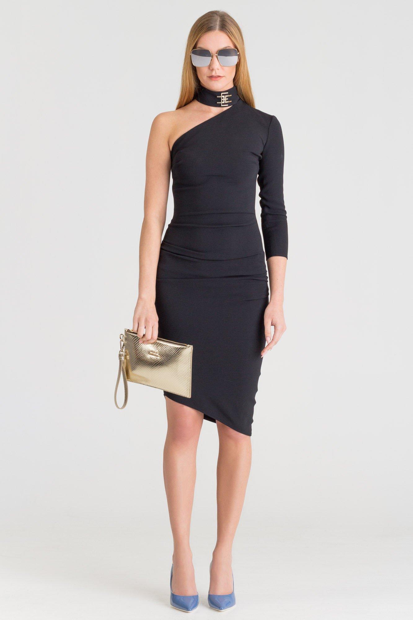 f15f2def60 ... Czarna sukienka na jedno ramię Elisabetta Franchi ze stójką ...