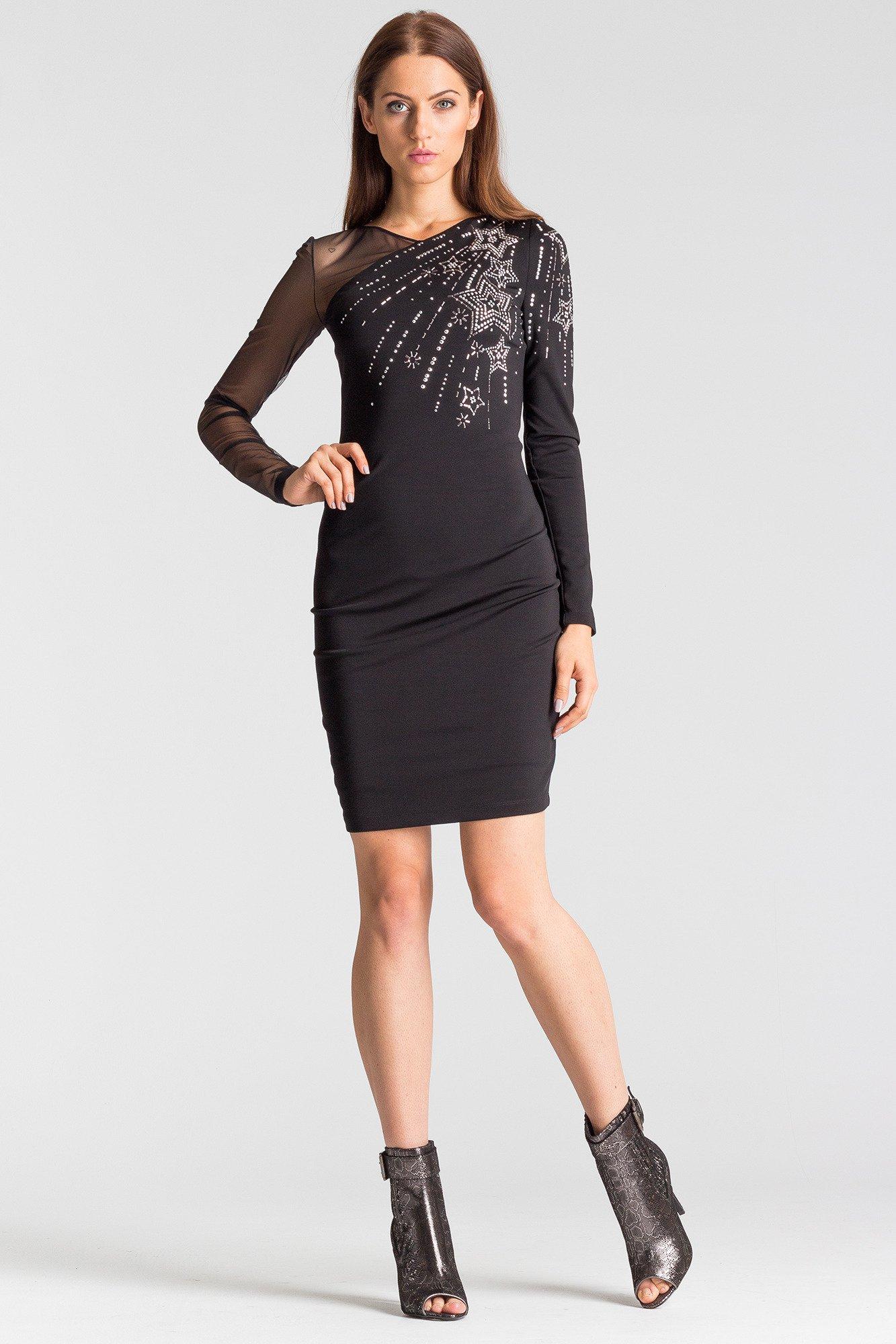 a069086bb6 ... Czarna sukienka z długim rękawem ...