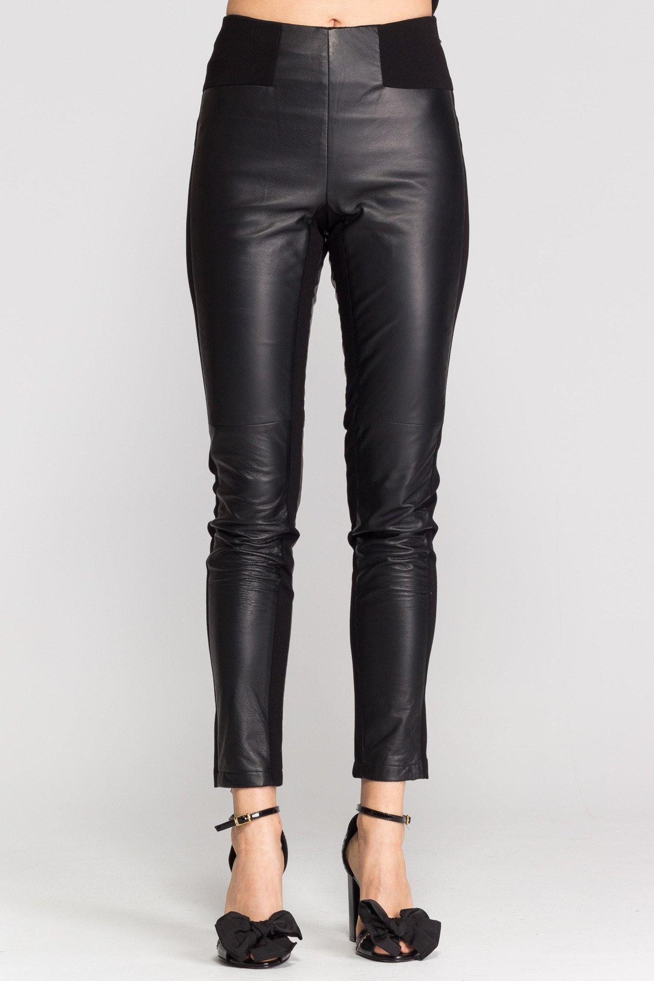 c4e2a117 Czarne skórzane spodnie damskie