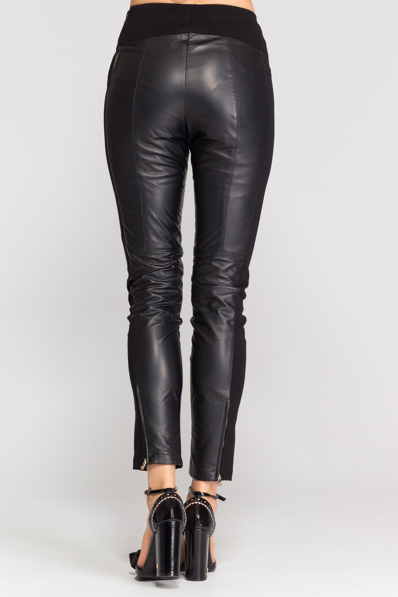 Czarne skórzane spodnie damskie