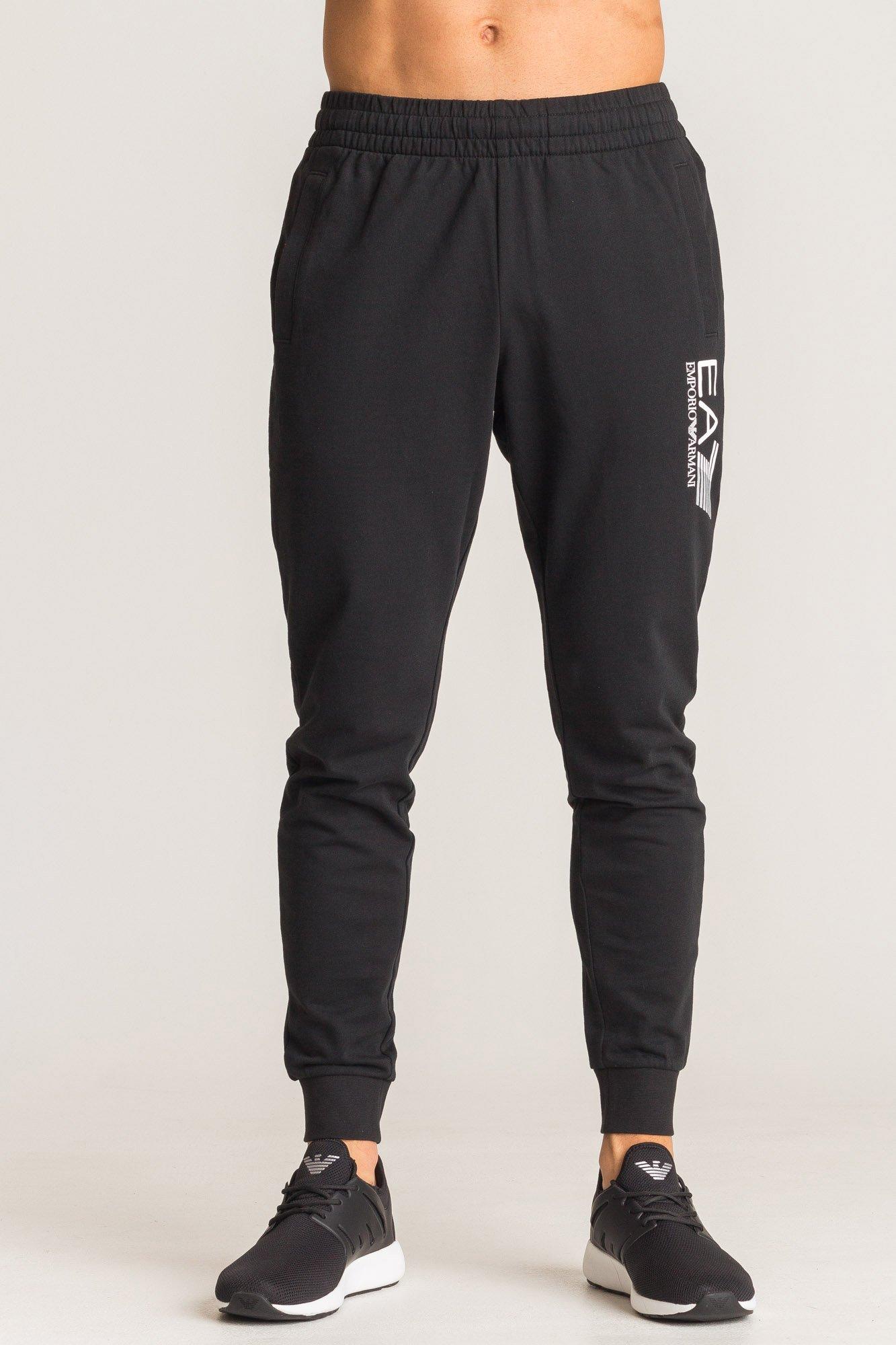 044aef4e0842 Czarne spodnie dresowe EA7 z białym logo marki Markowa odzież  w .. ... 260a3b7d9b3