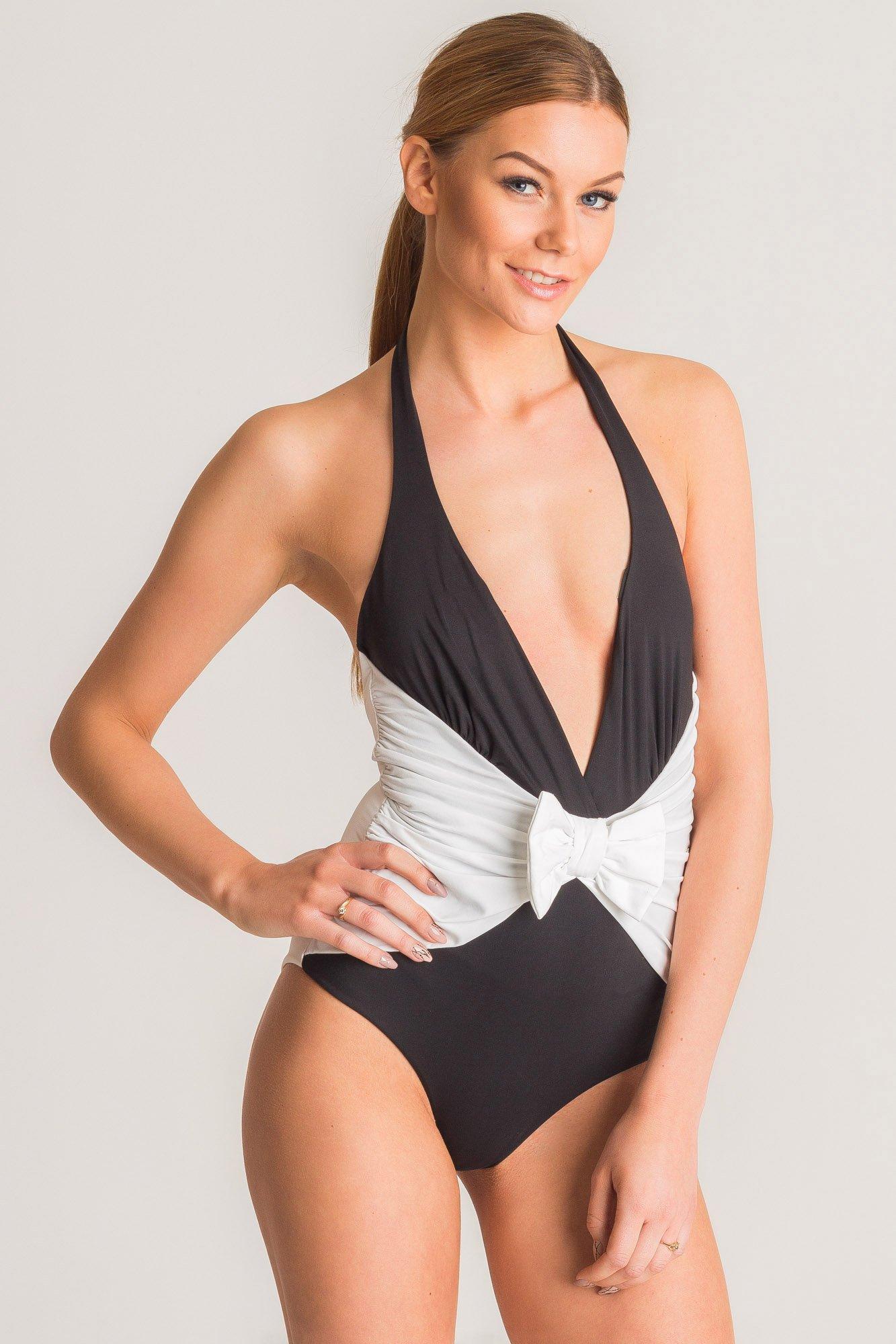 49569f2138e167 ... Czarno-biały jednoczęściowy strój kąpielowy Twinset U&B z kokardą ...