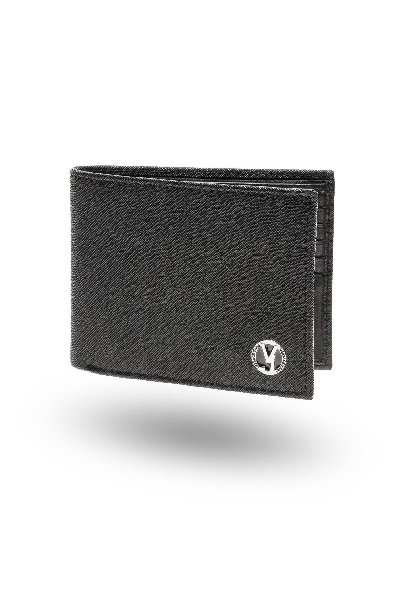 288f529f8ea88 Czarny portfel Versace Jeans męski z okrągłym emblematem | Markowa ...