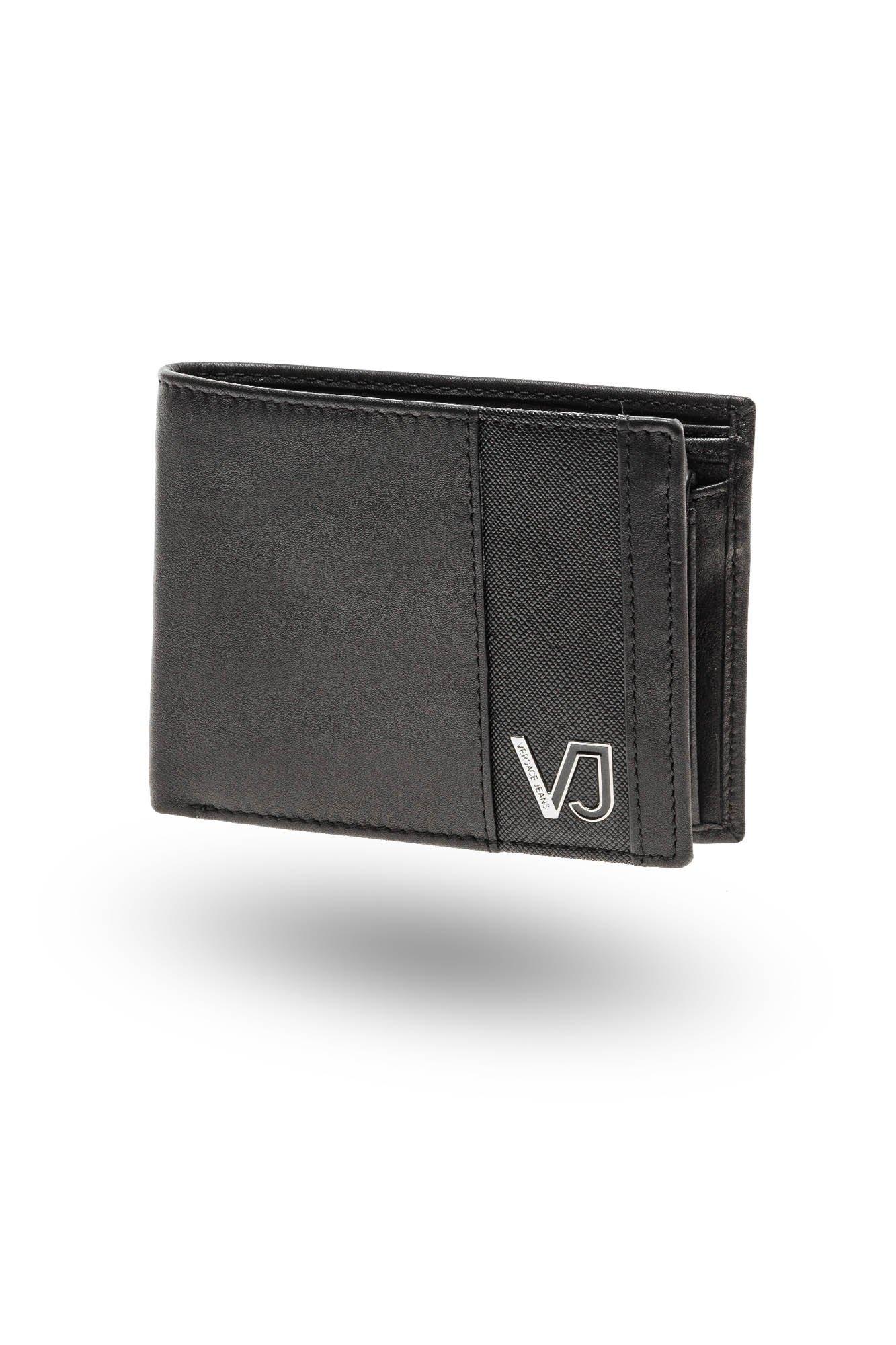 61441a49556cc ... Czarny portfel męski Versace Jeans z emblematem i aplikacją ...