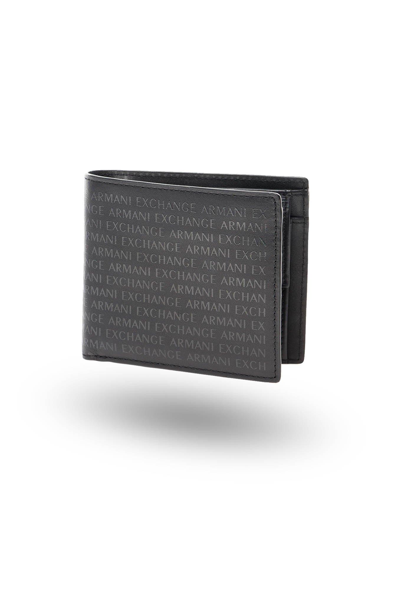 9a5901fb74eb1 ... Czarny skórzany portfel męski Armani Exchange Bifold Coin Pocket ...