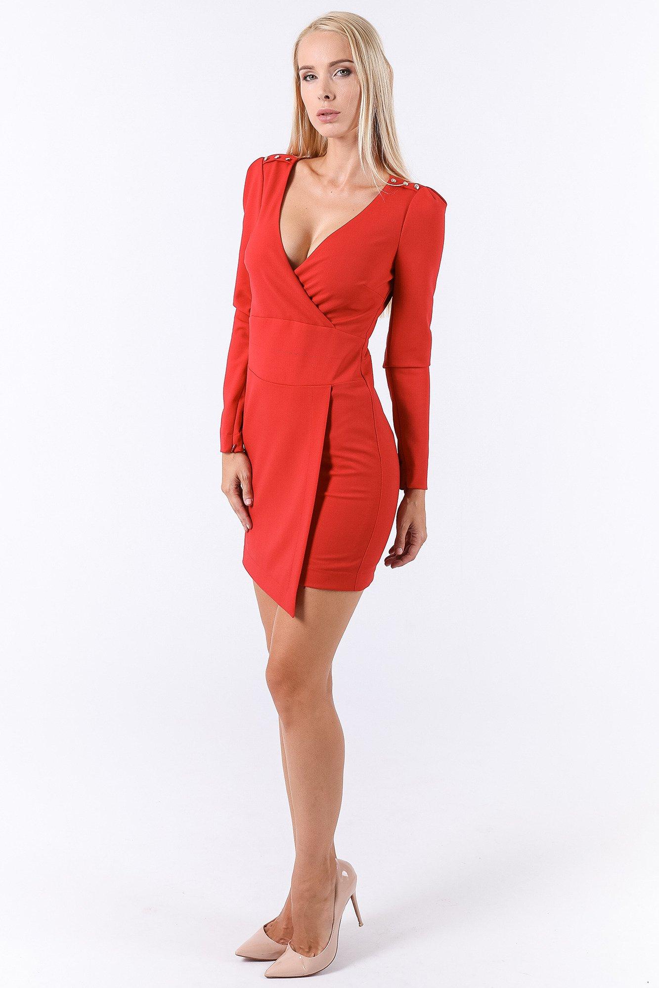Czerwona Sukienka Z Długim Rękawem Markowa Odzież W Sklepie Velpa Pl