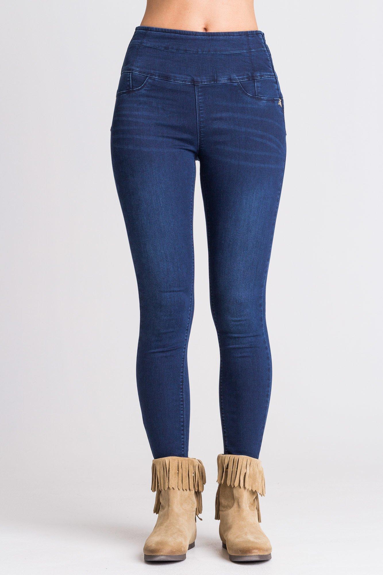 5d7e6496a3d14b Granatowe jeansy z wysokim stanem; Granatowe jeansy z wysokim stanem ...