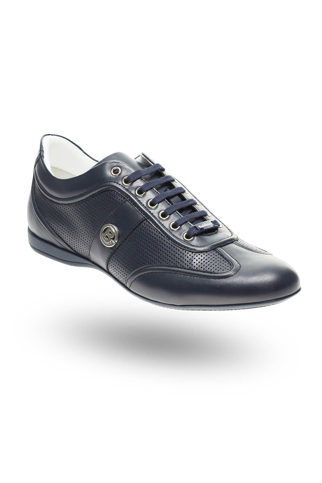b847efba3b630 ... Granatowe skórzane sneakersy Baldinini z perforacją ...