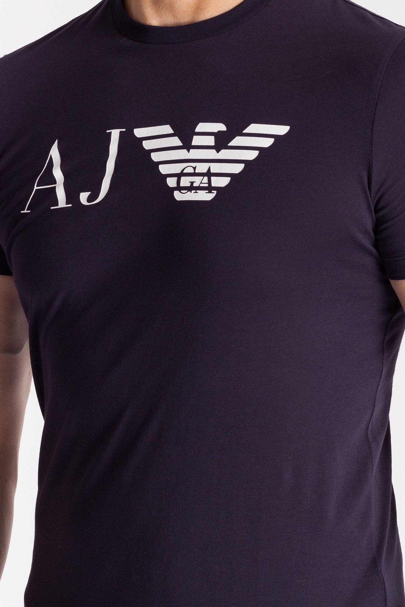 Granatowy t-shirt męski z nadrukiem ... a33d6cbd2db
