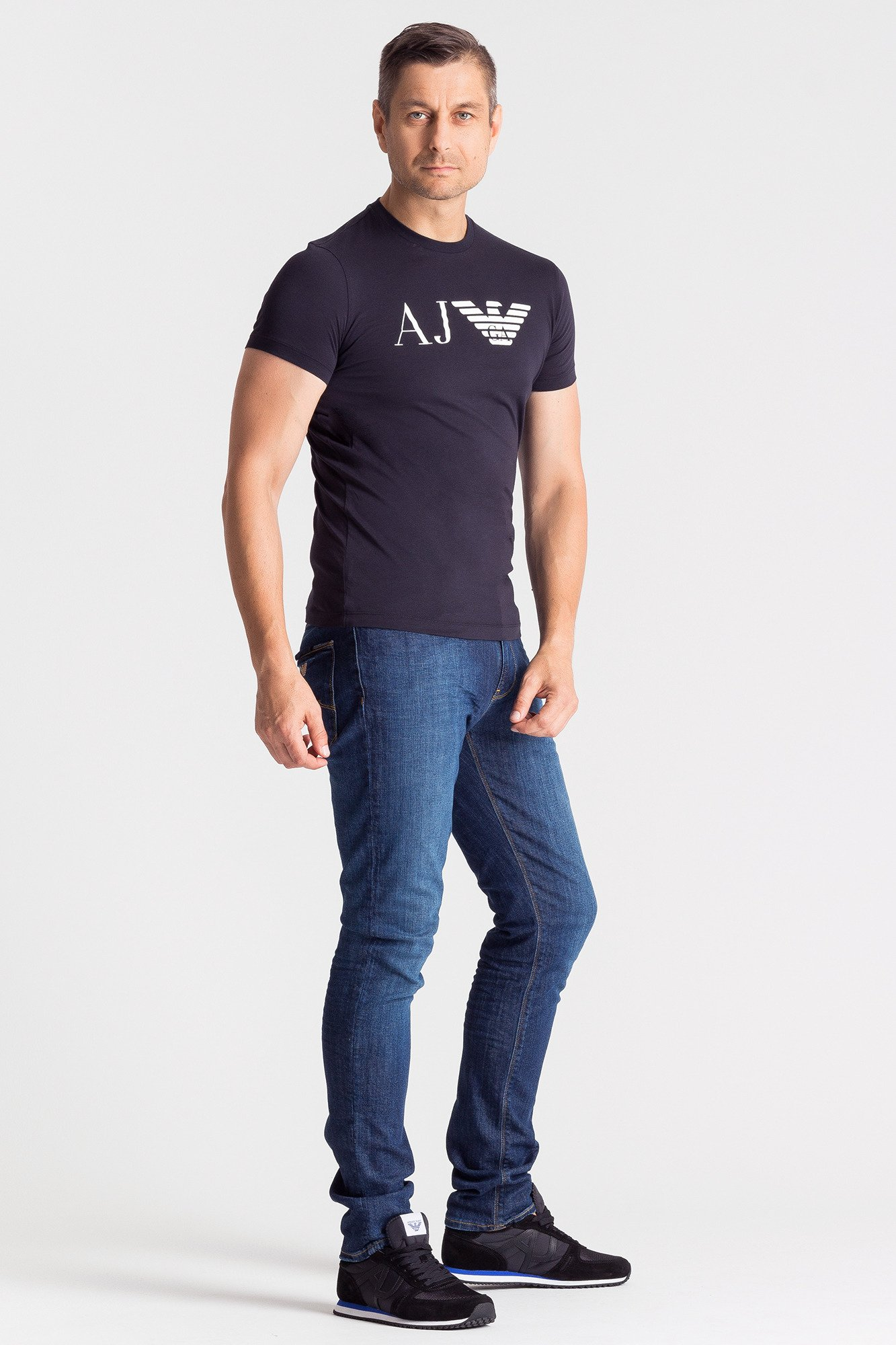 ... Granatowy t-shirt męski z nadrukiem ... 69561a7d0e6