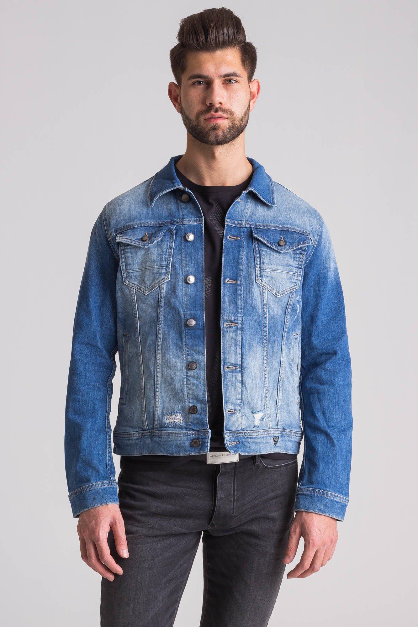 79c80906 Jeansowa kurtka męska William z motywem orła