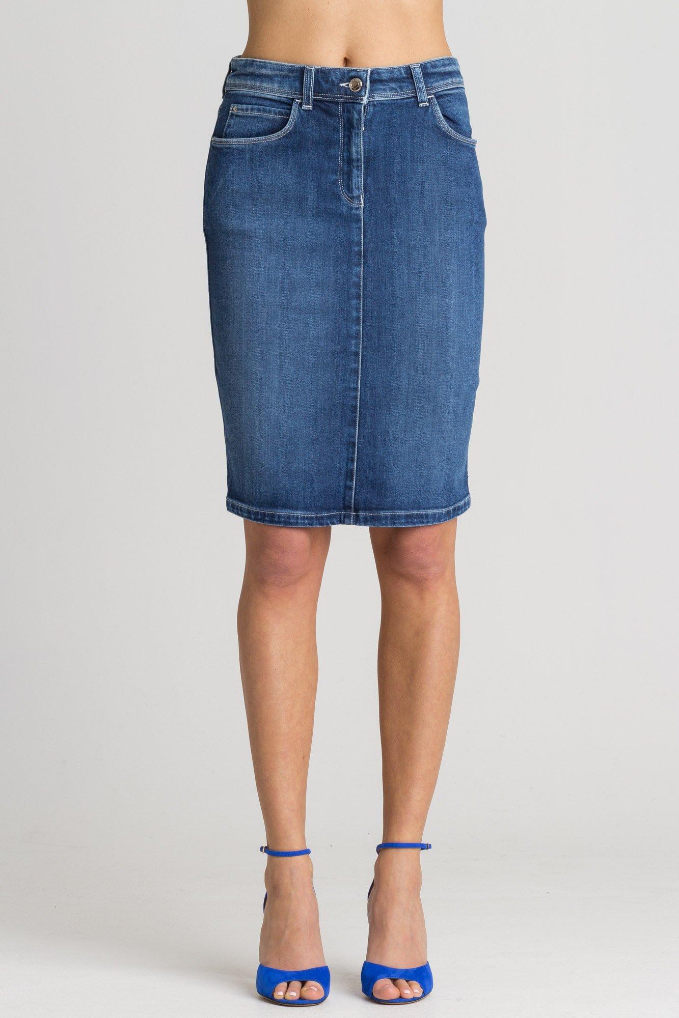 7c10e3eb1d72b9 Niebieska jeansowa spódnica | Markowa odzież w sklepie Velpa.pl