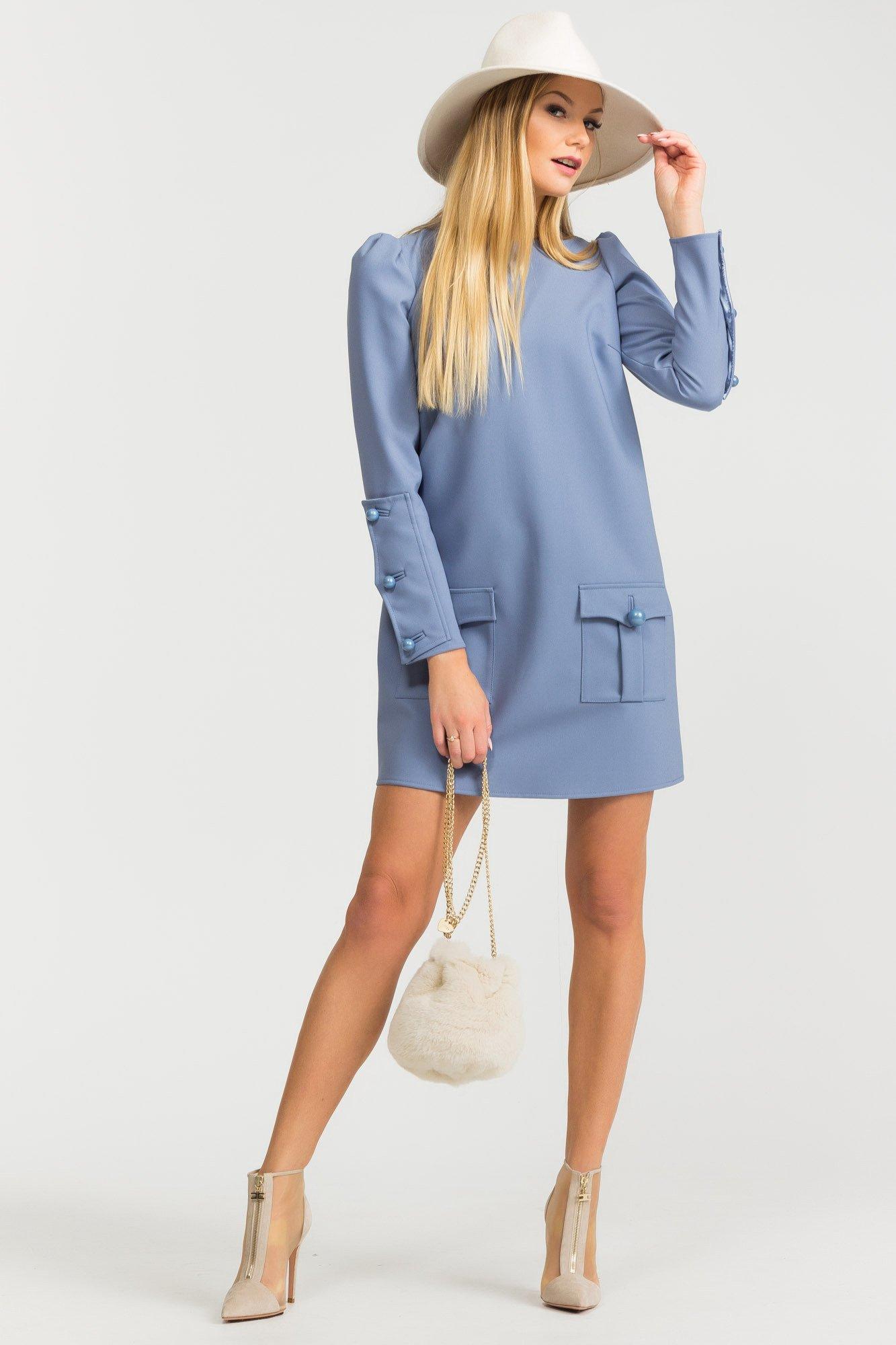 Niebieska Sukienka Z Długim Rękawem Markowa Odzież W