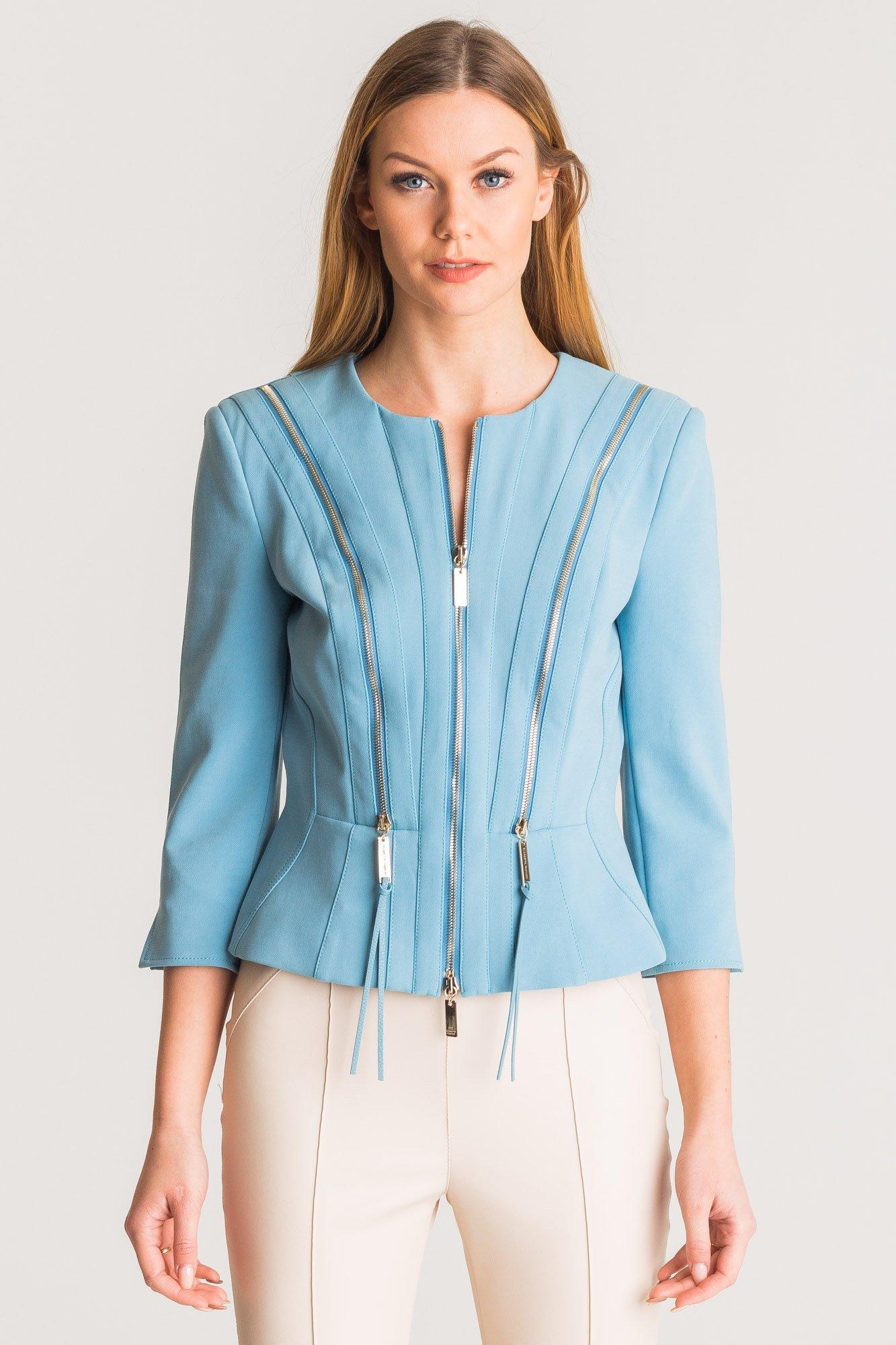 3baf45ab97 ... Niebieski żakiet Elisabetta Franchi z ozdobnymi zamkami ...