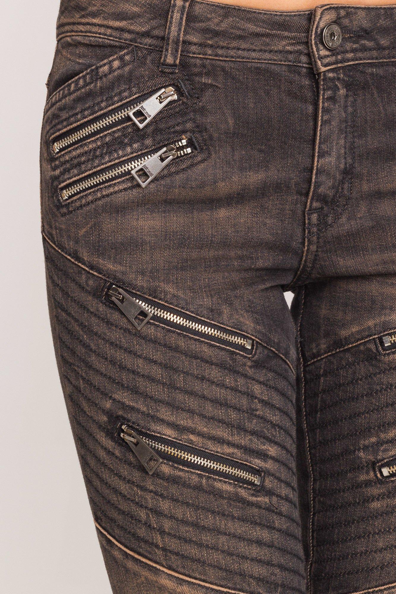 d0ee93a6 Szare jeansy Just Cavalli z zamkami