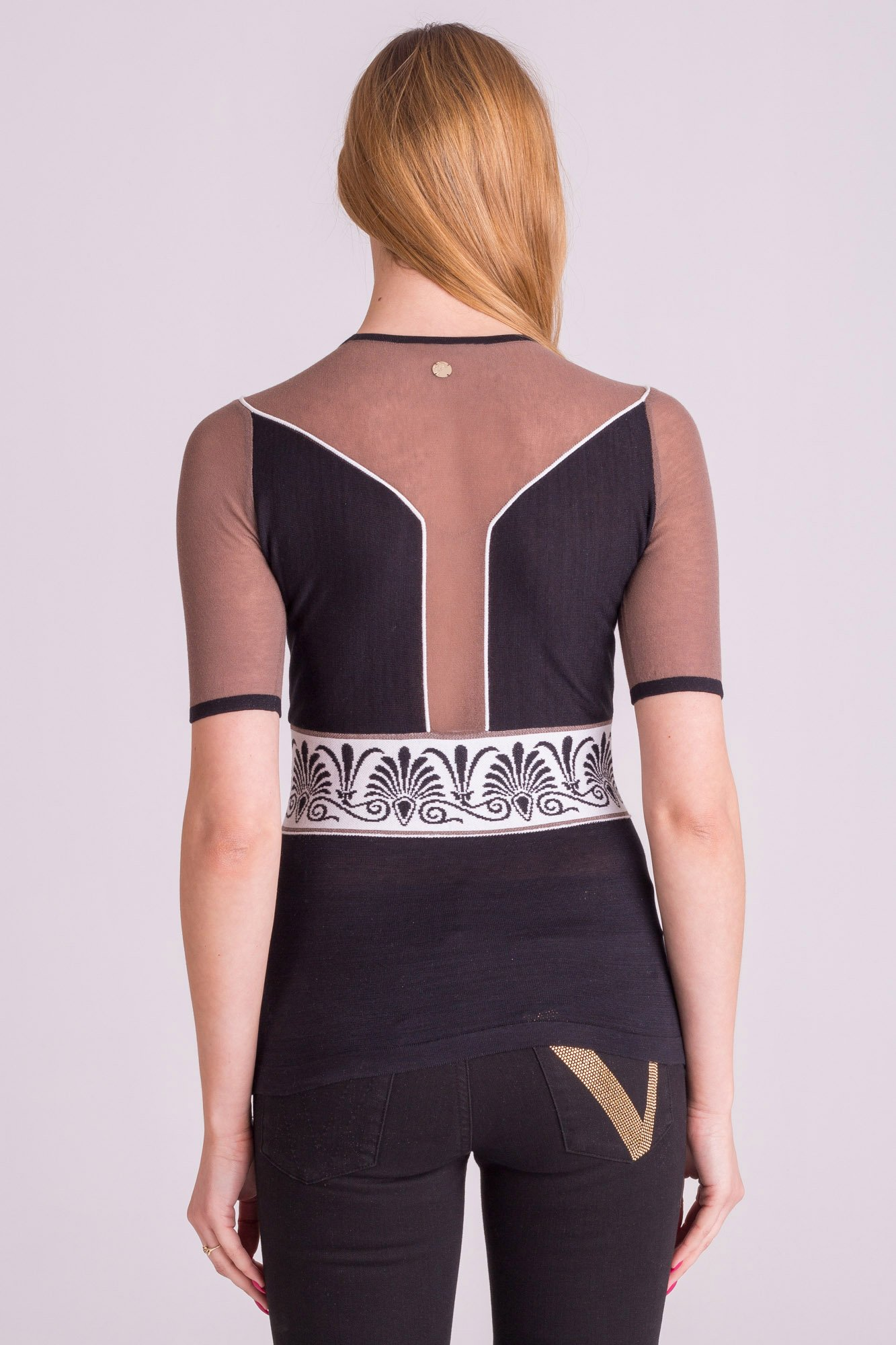4b46864f48 Wielokolorowa Bluzka Versace Collection Z Folklorystycznym Wzorem