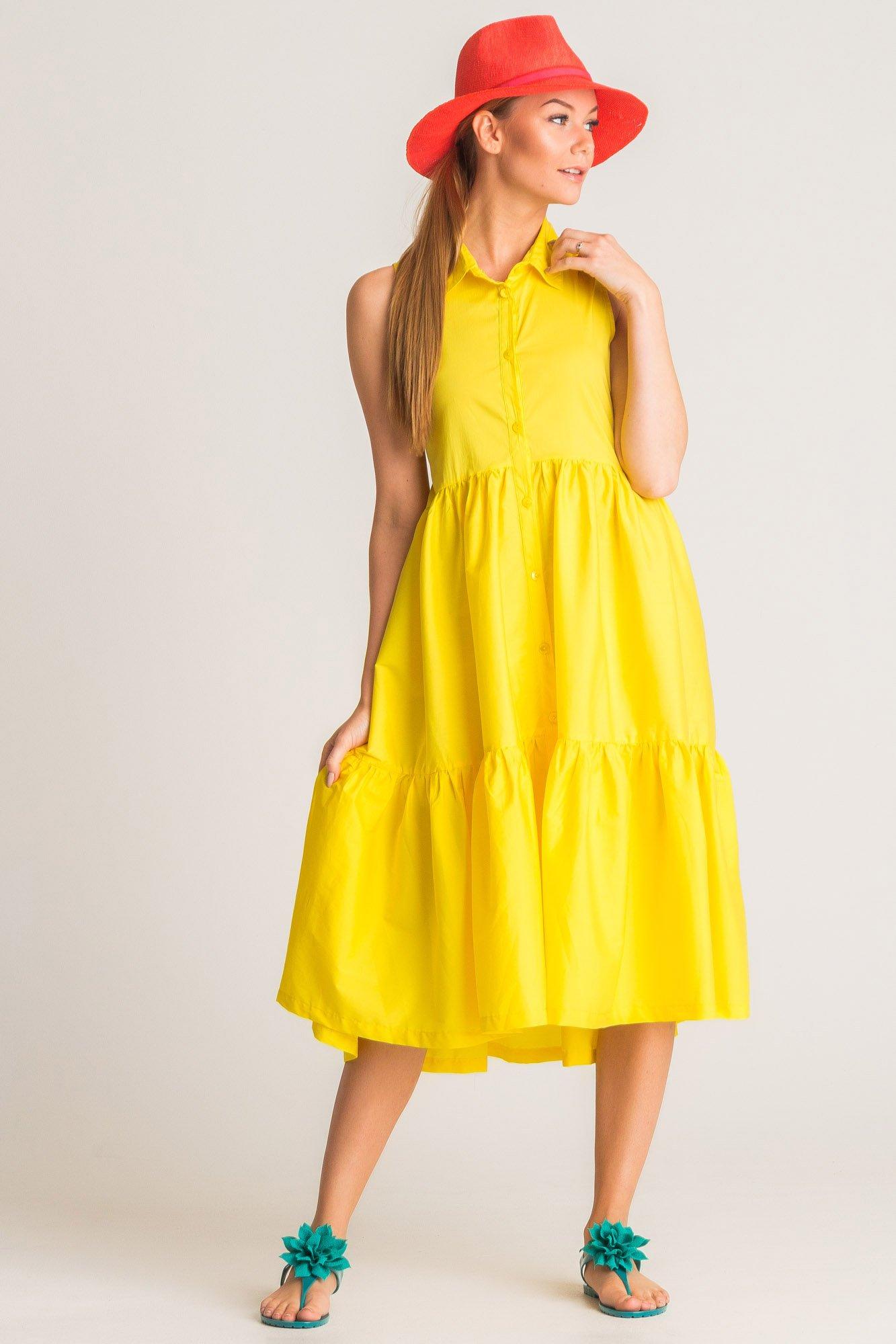 f5369268f1 ... Żółta sukienka Twinset U B z kołnierzykiem ...