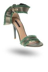 44ee0de3ca97a Zielone skórzane sandały Patrizia Pepe na obcasie